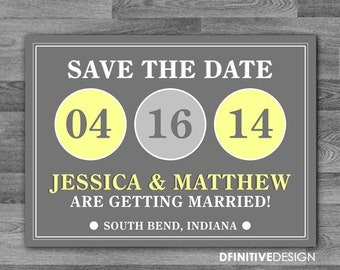 Modern Circle Wedding Save The Date Announcement - with envelopes or as postcard