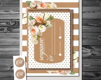 Pretty Fresh Spring Floral striped and Polkadot white/peach/pink/kraft Wedding Invitation