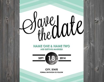 Geometric Striped Script blue/black/white Save The Date - with envelope or as postcard