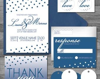Addison Polkadot Blue/navy/white Wedding flat/pocket Invitation