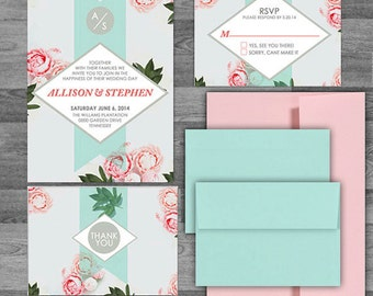 Rustic Floral Peony Mint/Coral/Pink/Blue wedding invitation