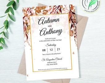 AUTUMN 2 - Wedding Invitation Template - Fall Colored Botanical