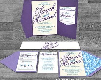 Fancy Script Customized Blue/Teal/Purple/lavender/White Wedding Invitation set