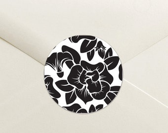 Modern Floral Envelope Seal Stickers - 1.5 inch Round Customizable Printed Stickers