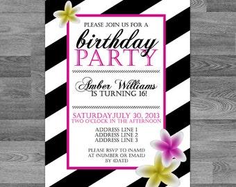 Custom Striped Floral Birthday Invite // birthday // party // engagement // wedding // any occasion