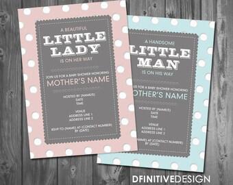 Handsome Little Man Boy Blue Dots  // Beautiful Little Lady Pink Dots / Baby Shower Invitation