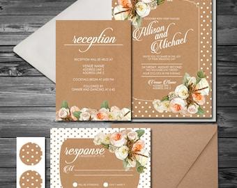 Pretty Fresh Spring Floral Polkadot white/peach/pink/kraft Wedding Invitation