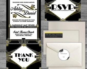 Art Deco/Gatsby/Roaring Twenties black/white/gold Wedding Invitation