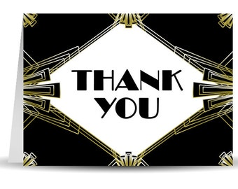 Art Deco / Gatsby Wedding Thank You Card - 5.5 x 4 inch Customizable Printed Thank You Cards with Envelopes