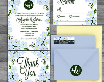 Watercolor Forget Me Not Blue/yellow/green/purple Floral Wedding Invitation