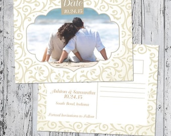 Save The Date Announcement - Classic Ivory Collection - with envelope or postcard back