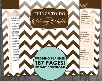 The Ultimate 187 Page Wedding Planner - Brown/Tan - Instant Download