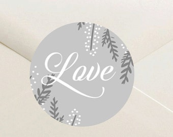 Grayson Collection Floral Love Envelope Seal Stickers - 1.5 inch Round Customizable Printed Stickers