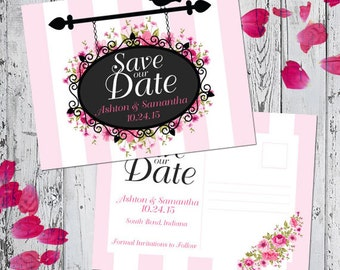 Save The Date Announcement - Garden Sign Collection - with envelope or postcard back