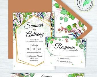 SUMMER - Wedding Invitation - Summer Colored Botanical