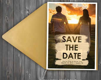 Paint Stroke Photograph Save The Date - with envelopes or as postcard