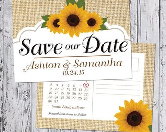 Save The Date Calendar Announcement - Sunflower Collection (with envelope or postcard back)