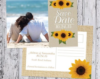 Save The Date Photo Announcement - Sunflower Collection - with envelope or postcard back