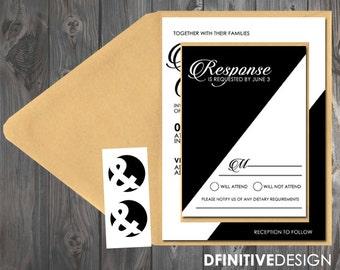 Modern Color Block Geometric Black/White/Gold Wedding flat/pocket Invitation
