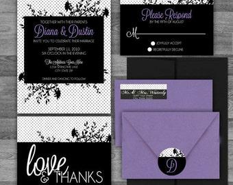 Garden Dots Black/White/Purple Floral silhouette Wedding flat or pocket Invitation