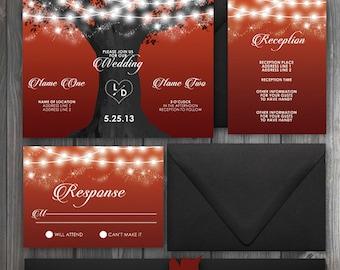 Sunset Tree Of Lights Fall orange/red/gray/black Wedding Invitation