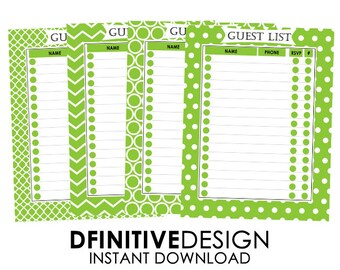 Green Guest List Planner Sheets - Instant Download - Contains Name, Phone, number attending, and rsvp Sections