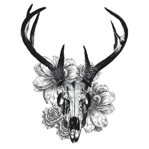 Cráneo De Ciervo Y Flores Tatuajes Temporales Etsy