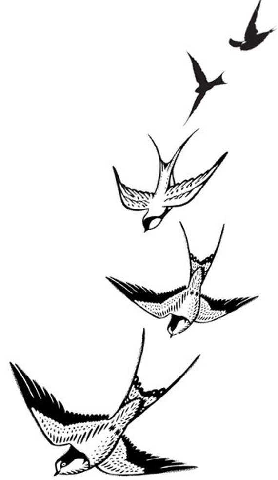Golondrinas Volando Tatuajes Temporales Etsy