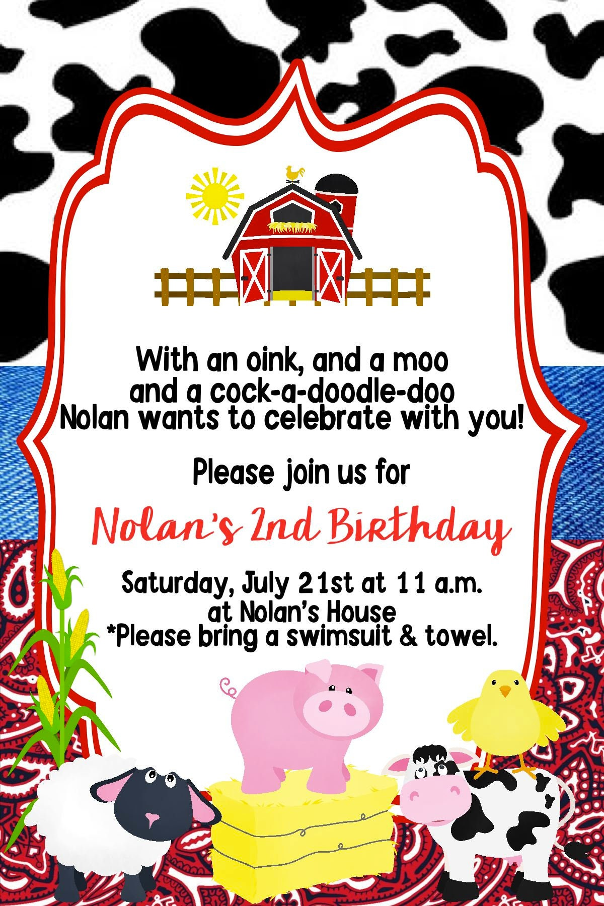 Farm Animals Birthday Party Invitation/ Any Age/ Customizable/ | Etsy