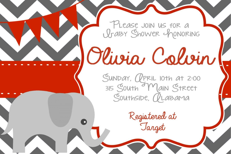 Elephant Baby Shower Invitation-Boy Girl Neutral-Alabama   Etsy