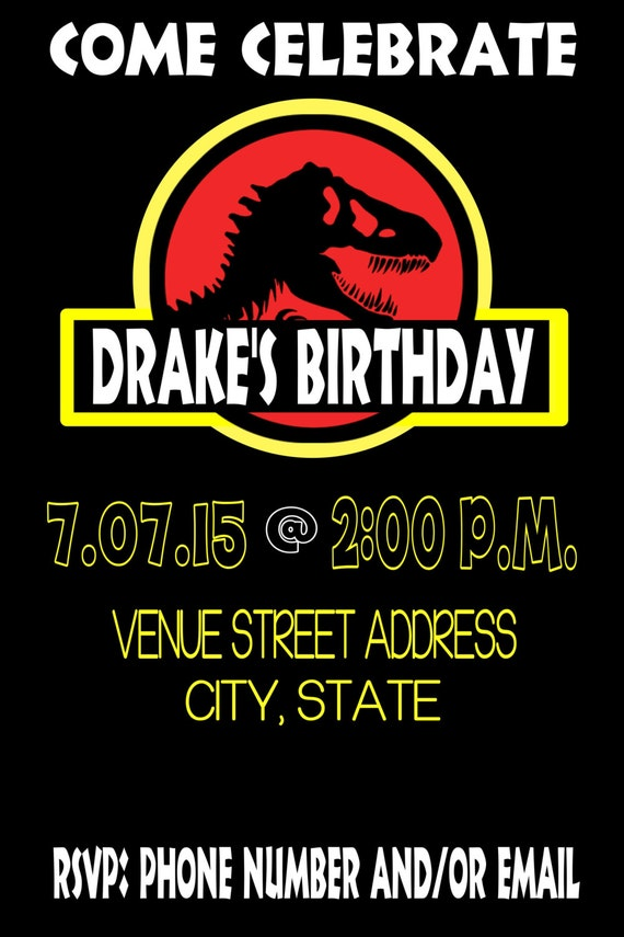 Jurassic Park Birthday Invitation Etsy