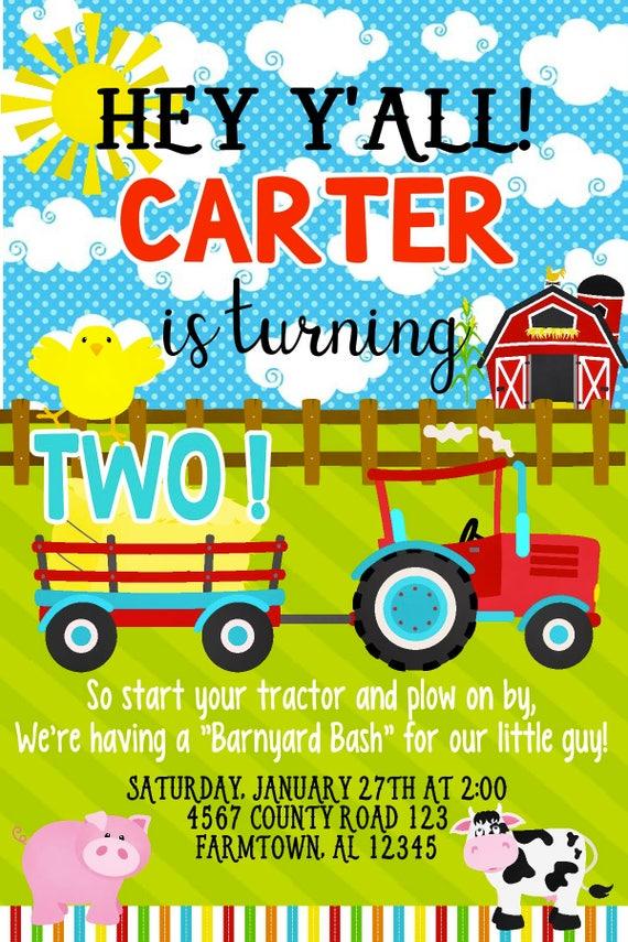 Tractor Birthday Party Invitation Any Age Customizable Etsy