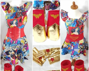 Wonder Woman Mommy and Me Super Dress Belts Boots  Gloves/Cuffs Choose one or both