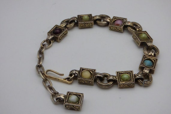 Beautiful Silvertone Sea-life themed MIRACLE signed 1950s Bracelet with glass agate cabochons
