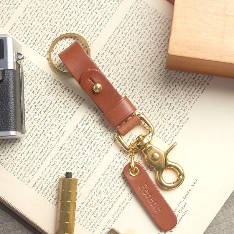 Handmade Leather Key Fob BRASS belt loop Personalize name    Keychain solid brass swivel snap Brown Keyfob Key Landyard