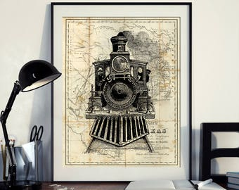 Vintage Map of North America Texas Art Print Locomotive Poster Engine Art Instant Download Printable A4 A3 8×10 & 11x14 Wall HQ300dpi
