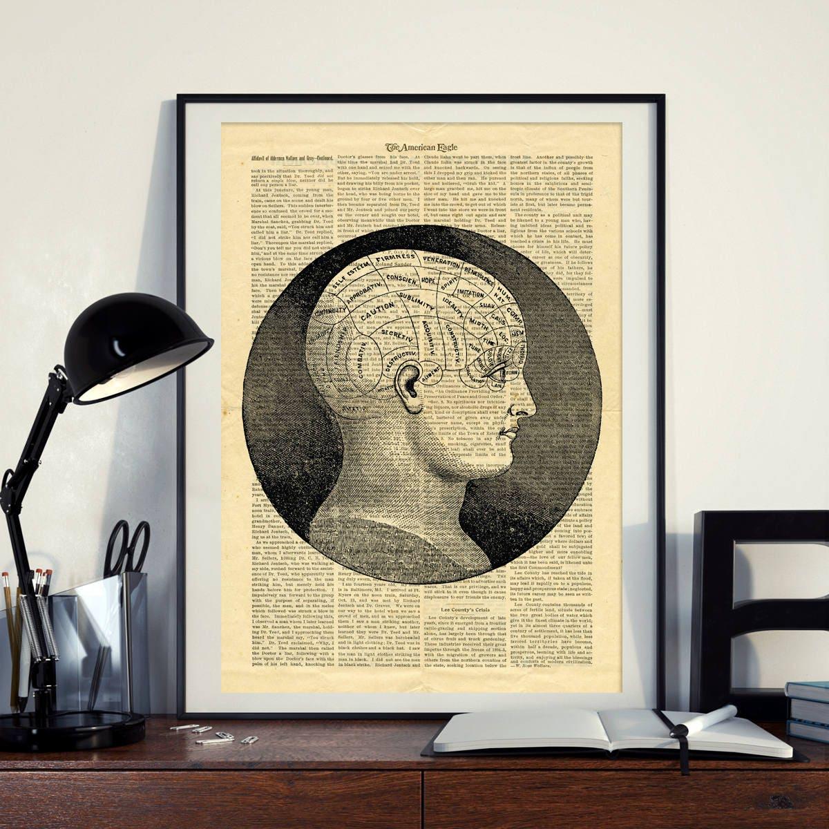 Phrenology Science Vintage Human Head Brain Printable Collage   Etsy