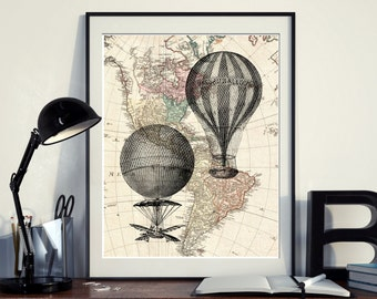 Vintage Map North America Hot Air Balloon aeronautic Instant Download Printable A3 A4 Wall Art Print 11x14 8×10 DIGITAL DOWNLOAD jpg HQ300dp