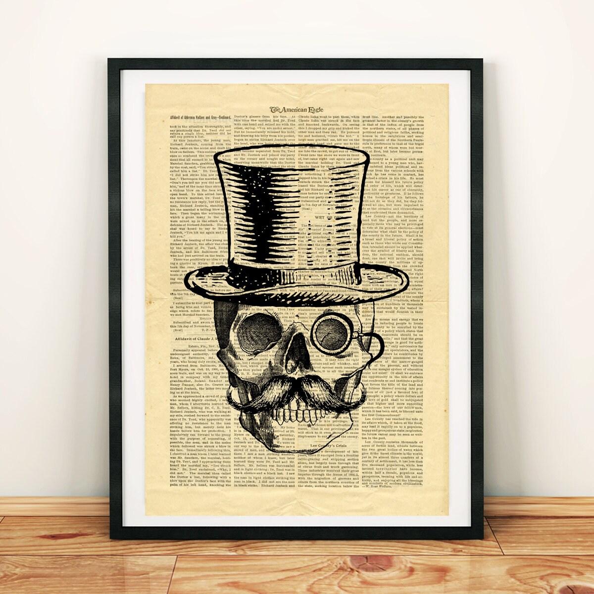Skull Vintage image Hat Moustache Monocle Printable Collage | Etsy