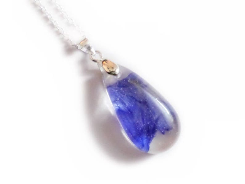 Cornflower Rain Drop Necklace- Resin Necklace Real Dried Flowers Valenwood Vixen Ready to Ship Nature Jewelry