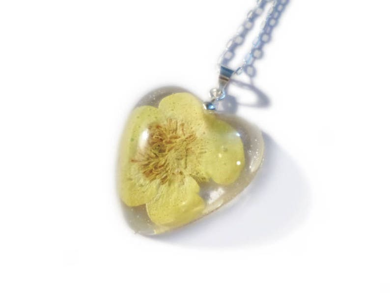 05d294988424 Yellow Buttercup Heart Necklace Resin Necklace Real Dried