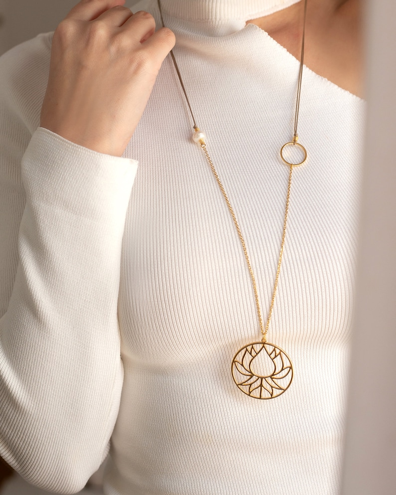 Lotus Necklace|Boho Lotus Necklace|Long Necklace|Boho Necklaces|Pearl Necklace