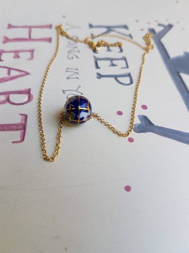 343c76c737014b Globe Lapis Lazuli Gold-plated Silver Dainty NecklaceDelicate | Etsy