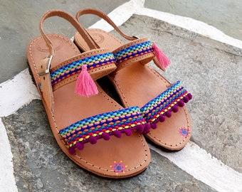 Ethnic sandals Pom Poms Sandals Boho Sandals Tassels Sandals Pom Pom Sandals Flat Sandals Flat Summer Sandals Unique sandals Kids Sandals