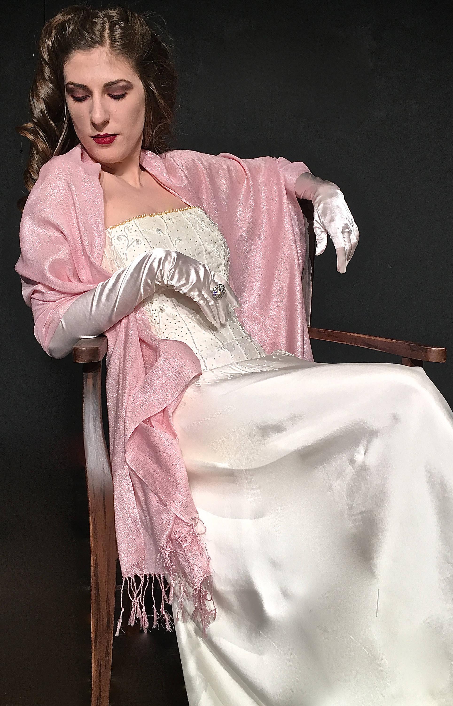 La luz rosada de la boda chal bebé rosa nupcial bufanda