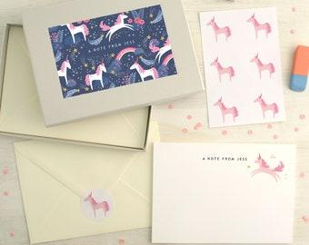 Personalised Unicorn Pattern Writing Set