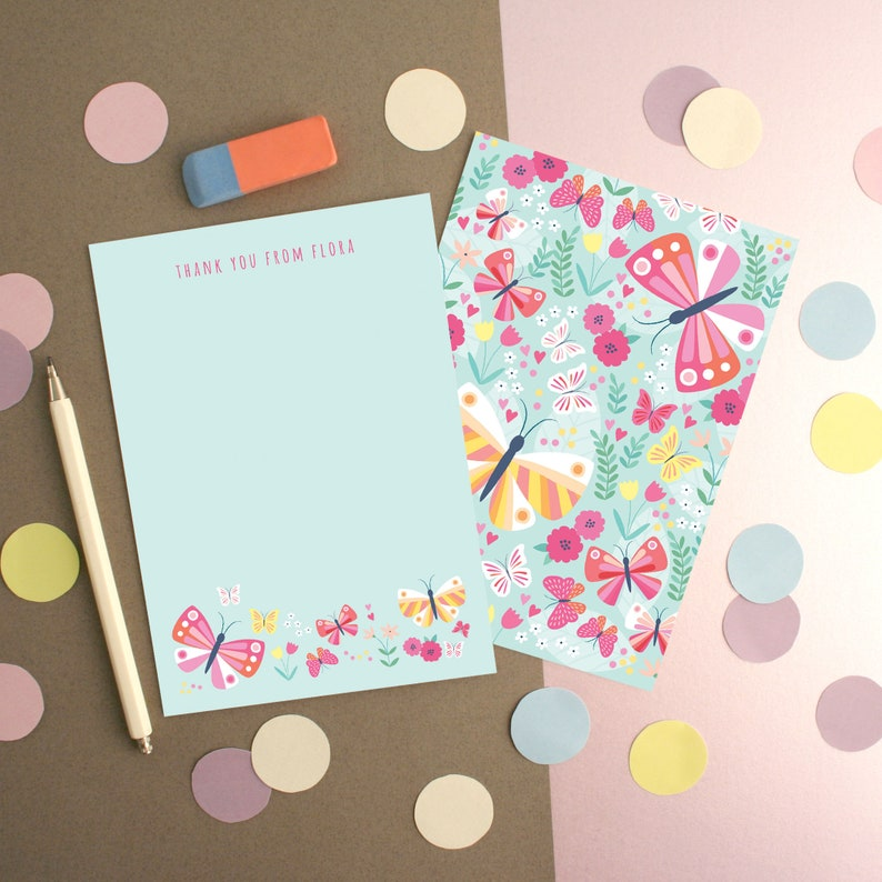 Personalised Butterfly Pattern Thank You Cards
