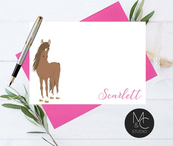 Equestrian Gifts Personalized Stationery Set of 12 Horse Stationary Set Horse Art Flat Note Card I/'d Rather Be Horse Back Riding