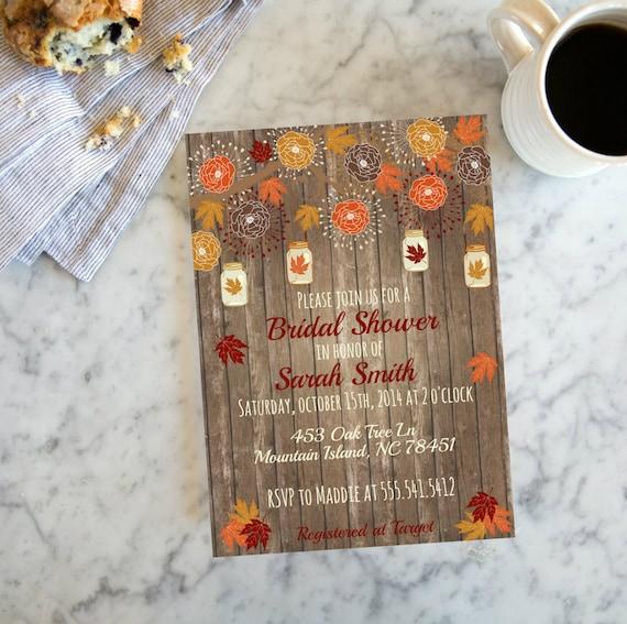 ba85906565a0 Rustic Fall Wood Mason Jar Bridal Shower Invite