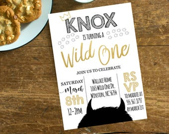 where the wild things are birthday invitation wild rumpus birthday little boy 1st black gold crown wild one # 2064